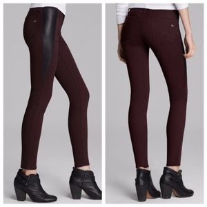 Rag & Bone Lamb Leather Panel Skinny Jeans Wine